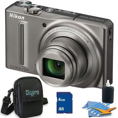 COOLPIX S9100 12MP Silver Digital Camera 4GB Bundle