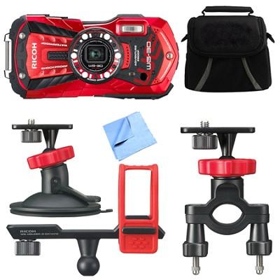 WG-30 16MP Waterproof Digital Camera w/ 3-Inch LCD Vermillion Red Action Bundle