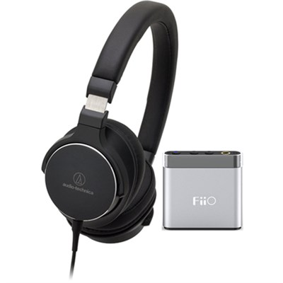 SR5 On-Ear High-Resolution Headphones w/ FiiO A1 Headphone Amplifier, Black