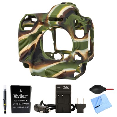 Nikon D5 Silicone Protection Cover Bundle for your DSLR EN-EL14A Battery Camo
