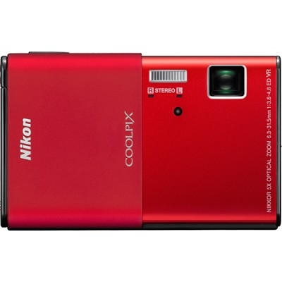 COOLPIX S80 14.1 MP Ultra-Slim 3.5 in Touchscreen Red Digital Camera w/ HD Video