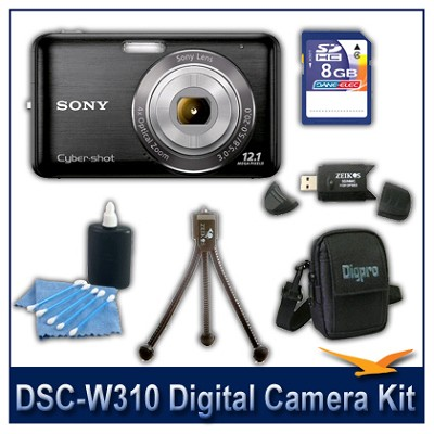 DSC-W310 Digital Camera (Black) with 8GB Card, Case, and More