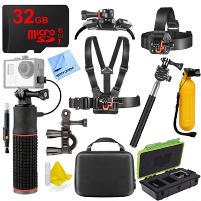 Action Camera Accessory Kit with Mounts, Selfie Stick, Buoy Handle, 32GB microSD