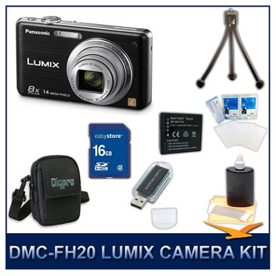 DMC-FH20K LUMIX 14.1 MP Digital Camera (Black), 16GB SD Card, and Camera Case