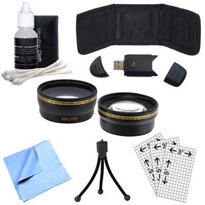 Wide Angle Lens, Mini Tripod, Cleaning Kit, Memory Card Wallet and More