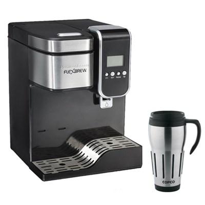 Single-Serve Coffee Maker,Programmable FlexBrew w/Hot Water Dispenser+ Copco Mug
