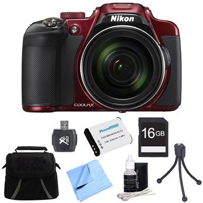 COOLPIX P610 16MP 60x Super Zoom HD Digital Camera 16GB Accessory Bundle - Red