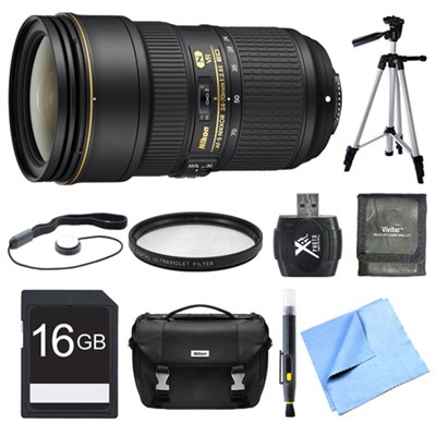 24-70mm f/2.8E ED VR AF-S NIKKOR Zoom Lens 16GB Bundle