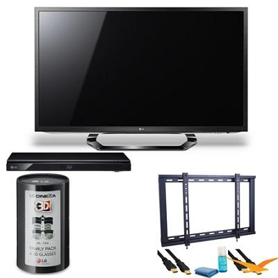 55LM6200 55` Class Cinema 3D 1080p 120Hz LED TV with SmartTV Blu Ray Bundle