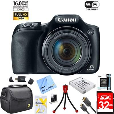 PowerShot SX530 HS 16MP 50x Opt Zoom 1080p Full HD Digital Camera Bundle (Black)
