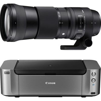 150-600mm F5-6.3 DG OS HSM Contemporary Zoom Lens for Canon+Canon PRO100 Printer