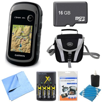 010-01508-10 - eTrex 30x Handheld GPS 16GB Micro SD Memory Card Bundle