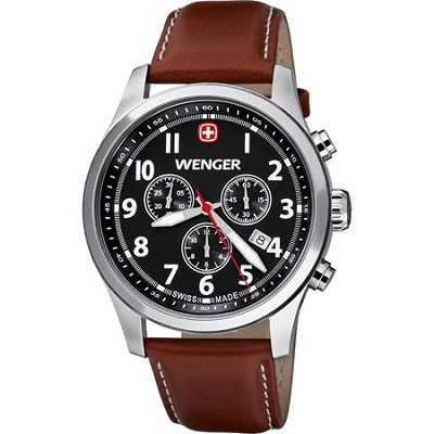 Men's Terragraph Chonograph Watch - Black Dial/Brown Leather Strap