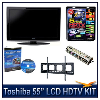 55` 1080p LCD HDTV + Flat Mount + Hook-Up + Power Protection + Calibration DVD