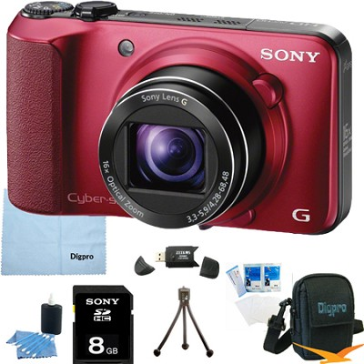 Cyber-shot DSC-HX10V (Red) 18.2 MP 16x Zoom 3D Sweep HD Video with 8GB Bundle