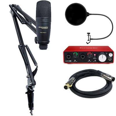 USB Microphone with Broadcast Stand and Cable w/ Interface Bundle