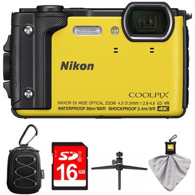 COOLPIX W300 16MP Waterproof Digital Camera Yellow with 16GB Card Bundle