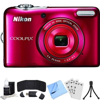 COOLPIX L32 20.1MP 720P HD w/ 5X Zoom Digital Camera (Red) Refurbished Bundle