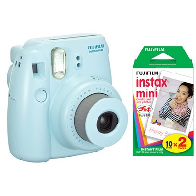 Instax 8 Color Instax Mini 8 Instant Blue Camera and 2 Pack 20 Sheets Film Kit