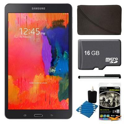 Galaxy Tab Pro 8.4` Black 16GB Tablet, 16GB Card, Headphones, and Case Bundle