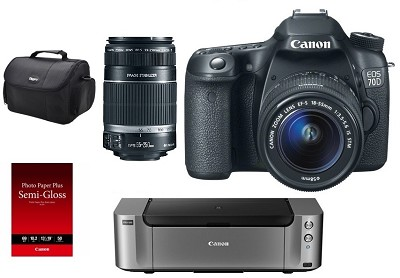 EOS 70D Camera w/ 18-55mm IS STM Lens Kit w/ Pro100 Printer / Paper