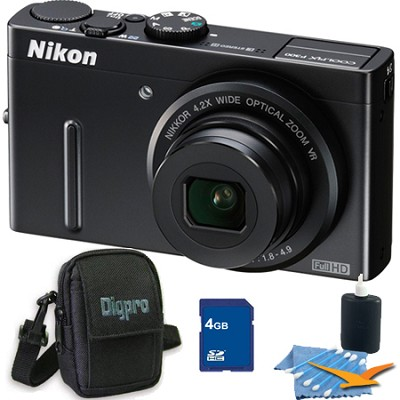 Coolpix P300 12MP F1.8 Black Digital Camera 4GB Bundle