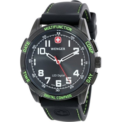 Men's Nomad LED Compass Watch - Black Dial/Black Silicone Strap/Green LED