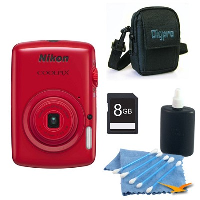 COOLPIX S01 10.1MP 2.5-inch Touch Screen Red Digital Camera Kit