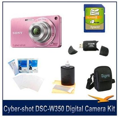 Cyber-shot DSC-W350 14.1 MP Digital Camera (Pink) w/ 4GB Card, Case and More