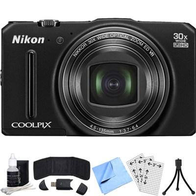 COOLPIX S9700 16MP Digital Camera w/ 30x Zoom + Wi-Fi (Black) Refurbished Bundle