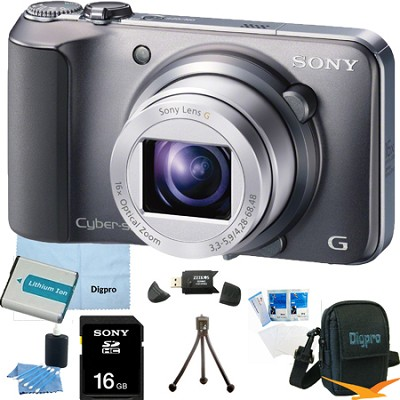 Cyber-shot DSC-H90 16.1 MP 16x Optical Zoom HD Video Camera (Silver) 16GB Bundle