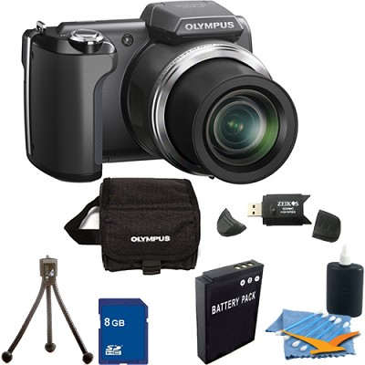 SP-610UZ 14 MP 3-inch LCD Black Digital Camera 8GB Kit