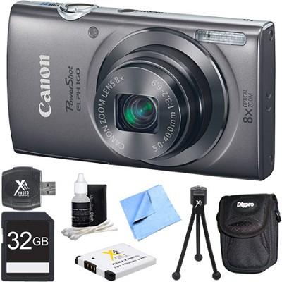 PowerShot ELPH 160 20MP 8x Opt Zoom HD Digital Camera - Silver 32GB Bundle