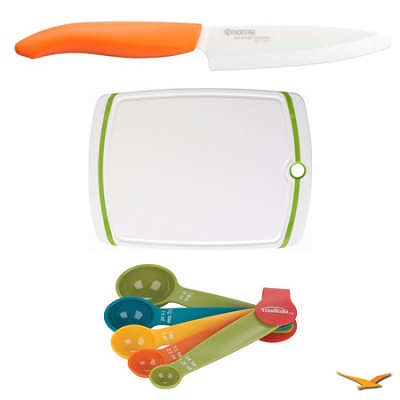 Revolution Series 4-1/4` Utility Knife, Cutting Board, and Spoon Set Bundle