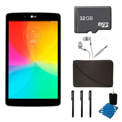 G Pad V 480 16GB 8.0` WiFi White Tablet, 32GB Card, and Case Bundle
