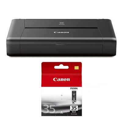 PIXMA iP110 Mobile Wireless Color Photo Printer Black Ink Bundle