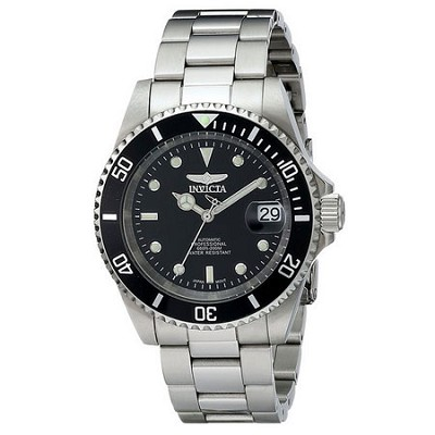 Men's Pro Diver Stainless Steel Watch w/ Link Bracelet and Black Dial - 8926OB