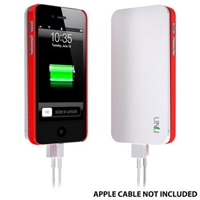 Ecopak iPhone 5 Case -Snap-on Case and Detachable Battery (White/Red)