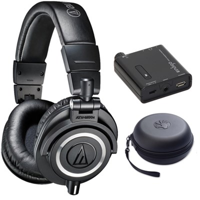 ATH-M50X Professional Studio Black Headphone w/ Slappa Case + Indigo Amp Bundle