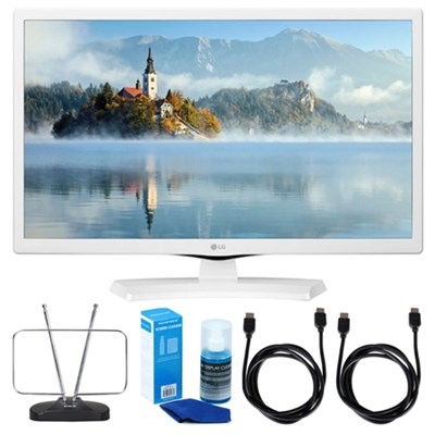 24LJ4540-WU 24` HD LED TV - White (2017 Model) w/ TV Cut The Cord Bundle
