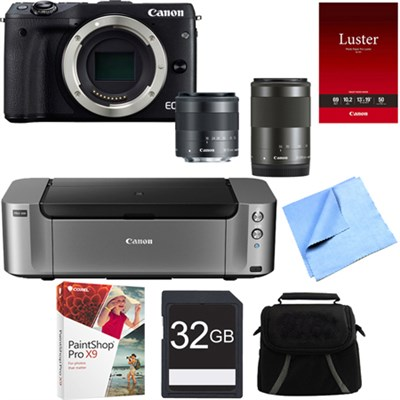 EOS M3 Black Mirrorless Camera w/ EF-M 18-55 & EF-M 55-200mm Lens Printer Bundle