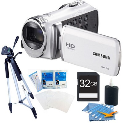 HMX-F90 52X Optimal Zoom HD Camcorder - White 32GB Bundle