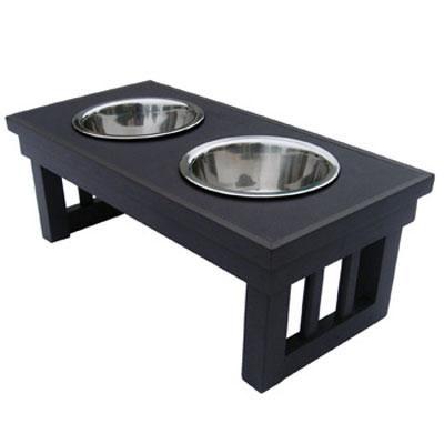 Medium Double Raised Dog Bowl in Espresso - EHHF202M