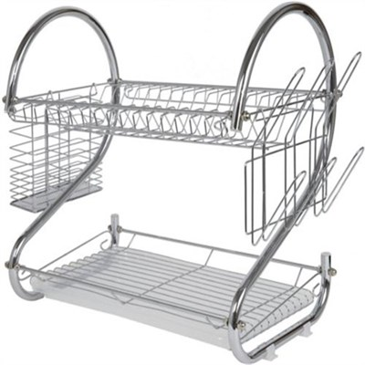Chrome Plated 2-Tier Dish Drying Rack and Draining Board - DD10107