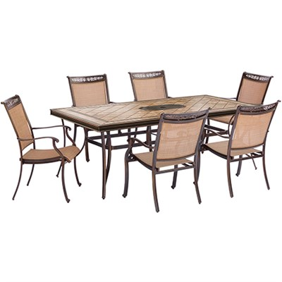 7pc Dining Set: 6 Sling Dining Chairs 40x68  Tile Top Dining Table