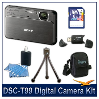 DSC-T99 14MP Black Touchscreen Digital Camera with 8GB Card, Case, and more