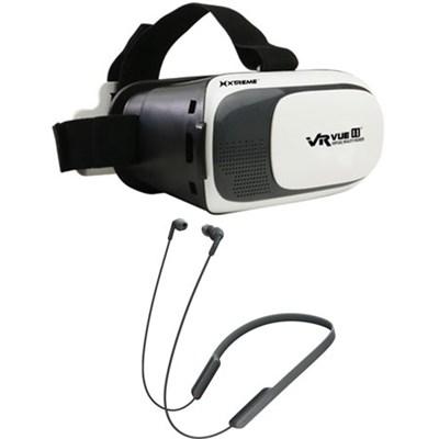 Bluetooth Wireless In-Ear NFC Headphones w/ VR Vue II Virtual Reality Viewer