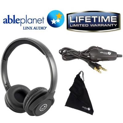 SH190 Travelers Choice Stereo Headphones w/ LINX AUDIO & Volume Cont Black Matte