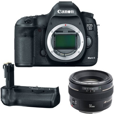 EOS 5D Mark III 22.3 MP Camera with EF 50mm f/1.4 USM Lens & BGE11 Battery Grip