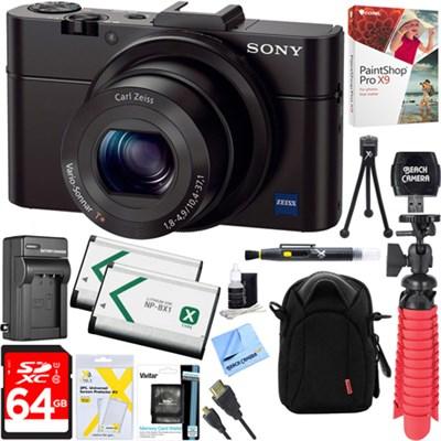 Cybershot RX100 II 20.2MP Digital Camera + 64GB Dual Battery Accessory Kit